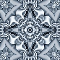 Silk Silver Blue Cross Mandala by Richard H. Jones