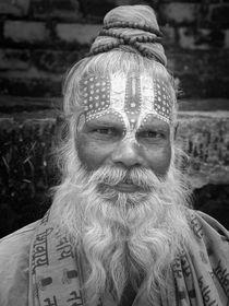 Sadhu Portrait Schwarz-Weiß von Frank Daske