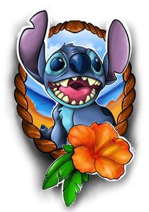 Stitch mit ner Aloha Blume  by Oliver Walenta