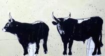 Stiere gemalt abstrakt sw by Conny Wachsmann