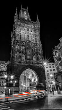 Night view of the Powder tower in Prague by Tomas Gregor