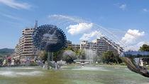Modern designed fountain in Alba Iulia by ambasador