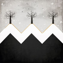 Three trees on three snowy hill tops by Sybille Sterk