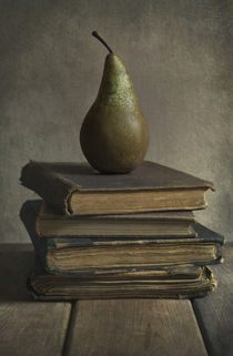 Still life with old books and green pear by Jarek Blaminsky