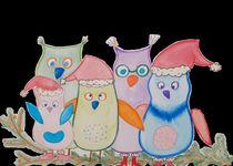 Eulenfamilie an Weihnachten von Regina Freimuth