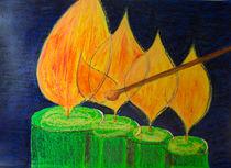 Vier brennende Kerzen von Jutta Blühberger