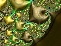 Golden Raindrop Spirals by Elisabeth  Lucas