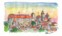 Nürnberg Deutschland Kaiserliche Burg bei Sonnenuntergang by M.  Bleichner