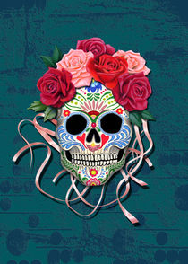 Mexican Roses Skull on distressed, teal colored, wall by Colette van der Wal