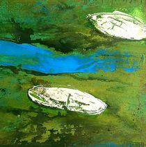 Zwei Sichtweisen  - grünes Bild Fluß von Conny Wachsmann