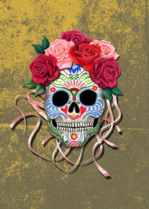 Mexican Roses Skull on yellow colored distressed wall von Colette van der Wal