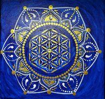 Mandala in blau-gold von Martina Seider