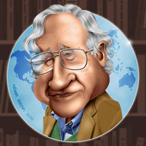 Noam Chomsky caricature von William Rossin
