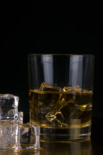 glass of whiskey and ice isolated on black background, whiskey, whisky, scotch, bourbon by Aleks de Kairo