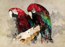 Two red ara parrots by Jarek Blaminsky