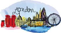 Watercolor London von Cindy Shim