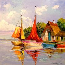 Sailboats near the shore by Olha Darchuk