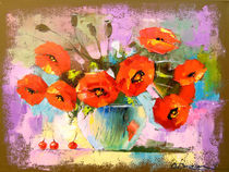 A bouquet of poppies in a vase von Olha Darchuk