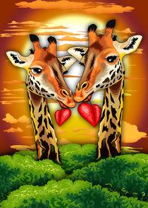 Giraffes in Love in Wild African Savanna by bluedarkart-lem