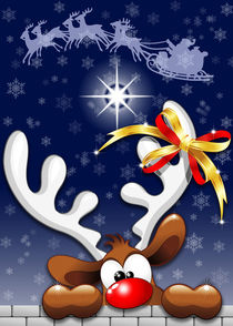 Funny Christmas Reindeer Cartoon by bluedarkart-lem