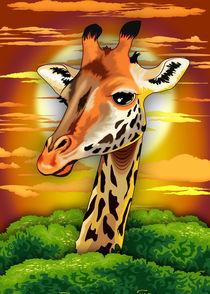 Giraffe Wildlife Animal Portrait  von bluedarkart-lem