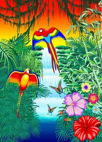 Macaws on Exotic Waterfall  by bluedarkart-lem