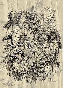 Wildlife Animals on Jungle Vintage Art von bluedarkart-lem