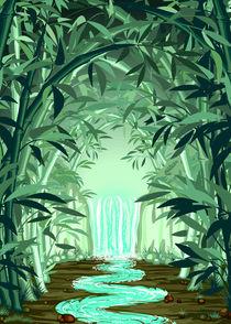 Waterfall on Bamboo Forest von bluedarkart-lem