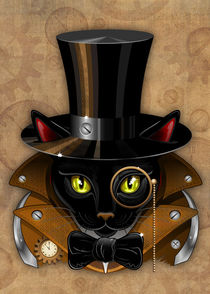 Cat Steampunk vintage face von bluedarkart-lem
