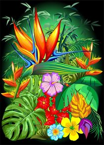 Bird of Paradise Flower Exotic Nature von bluedarkart-lem