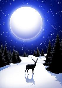 Reindeer on Snowy Night Silent Mountains von bluedarkart-lem