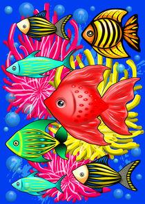 Fish Cute Colorful Doodles  von bluedarkart-lem