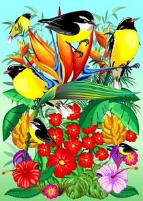 Birds and Nature Floral Exotic Scenery von bluedarkart-lem