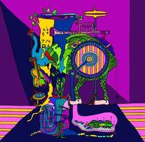 Hausmusik - große Trommel und blaue Tuba von SUSANNE eva maria  FISCHBACH