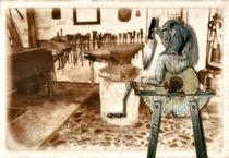 Affe auf dem Schleifstein von garrulus-glandarius