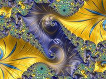 Double Blue and Gold Spiral von Elisabeth  Lucas
