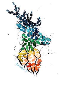 Hirsch der Blätter by lona-azur