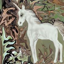 Einhorn im Zauberwald, unicorn, digital art von Dagmar Laimgruber
