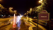 Night view at colorful fountain in Bucharest, Romania. by ambasador