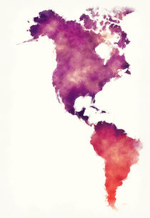 America watercolor map in front of a white background by Ingo Menhard