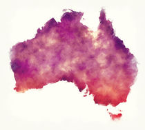 Australia watercolor map in front of a white background von Ingo Menhard