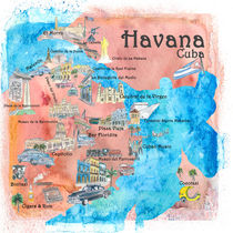 Havana Cuba Illustrated Travel Poster Favorite Sightseeing Map by M.  Bleichner