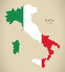 Modern Map - Italia coloured IT von Ingo Menhard