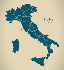 Modern Map - Italia with regions IT von Ingo Menhard