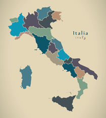 Modern Map - Italia with regions colored IT von Ingo Menhard