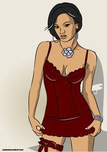 Lingerie Model in red von mixedmarcelarts
