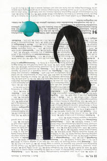 Lampe mit Haar und Hose von Doreen Trittel