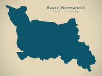 Modern Map - Basse Normandie FR France von Ingo Menhard