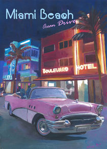 Miami Ocean Drive Convertible Night Retro Poster von M.  Bleichner