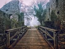 Holzbrücke zur Festungsruine Hohentwiel bei der Stadt Singen  von Christine Horn